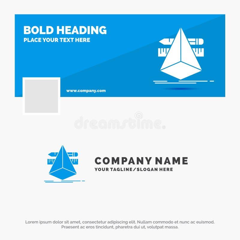 Affare blu Logo Template per 3d, progettazione, progettista, schizzo, strumenti Progettazione dell'insegna di cronologia di Faceb royalty illustrazione gratis