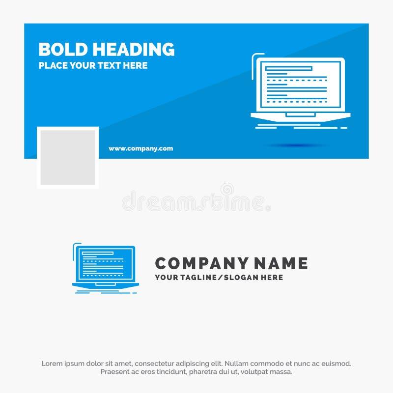 Affare blu Logo Template per il codice, codifica, computer, monoblock, computer portatile Progettazione dell'insegna di cronologi royalty illustrazione gratis