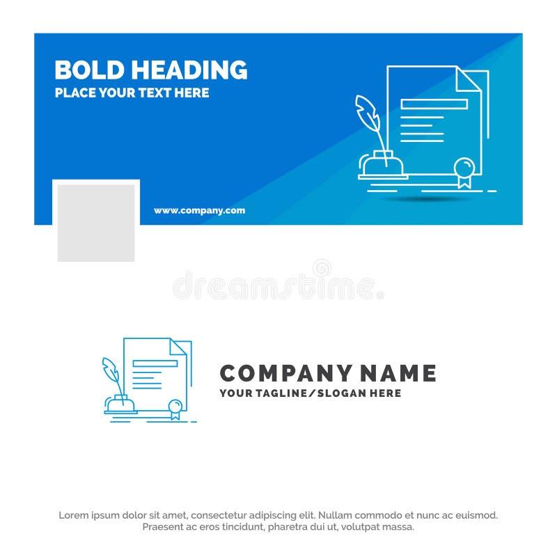 Affare blu Logo Template per il contratto, carta, documento, accordo, premio Progettazione dell'insegna di cronologia di Facebook illustrazione di stock