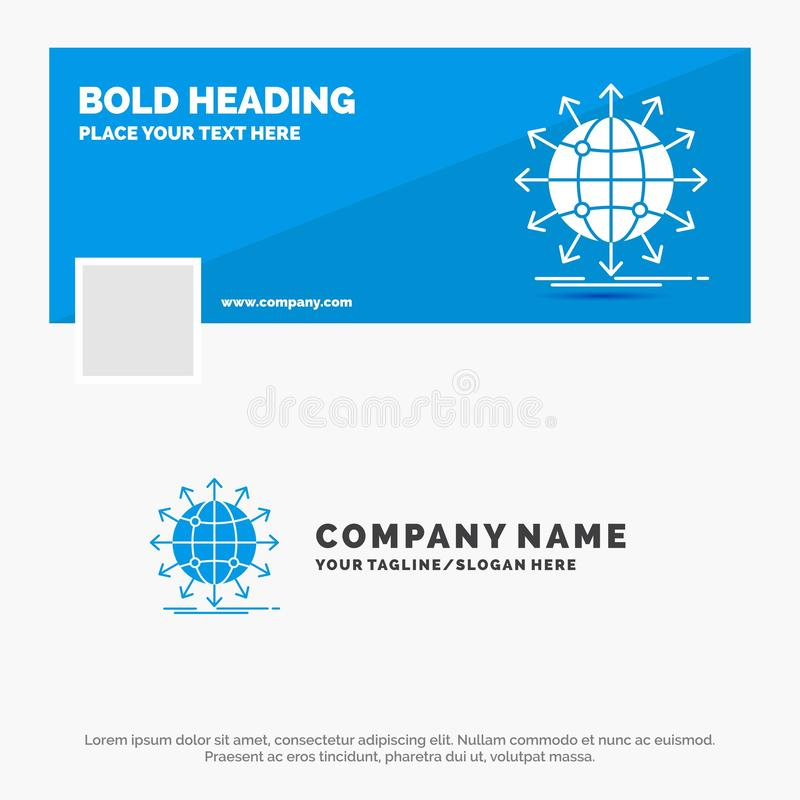 Affare blu Logo Template per il globo, rete, freccia, notizie, universalmente Progettazione dell'insegna di cronologia di Faceboo royalty illustrazione gratis