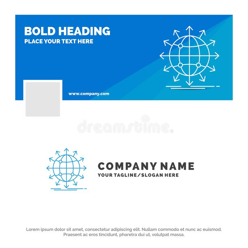 Affare blu Logo Template per il globo, rete, freccia, notizie, universalmente Progettazione dell'insegna di cronologia di Faceboo illustrazione di stock