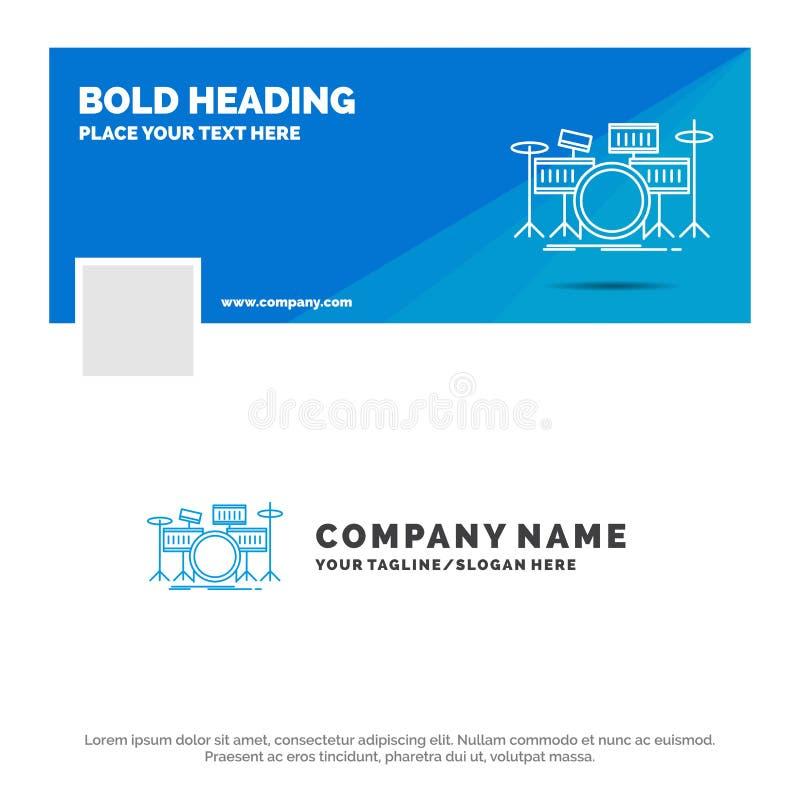 Affare blu Logo Template per il tamburo, tamburi, strumento, corredo, musical Progettazione dell'insegna di cronologia di Faceboo illustrazione vettoriale