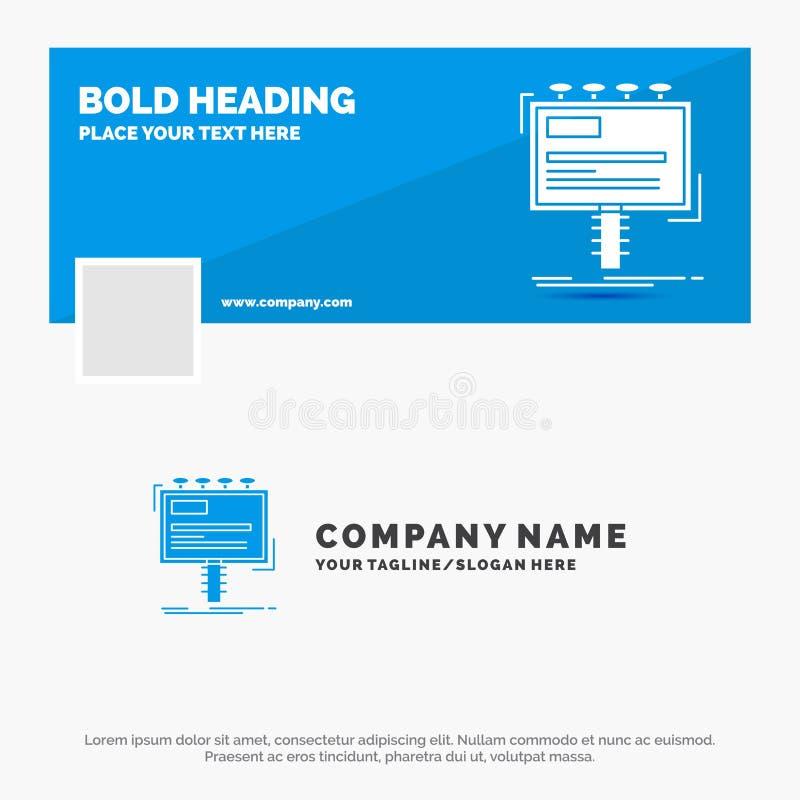 Affare blu Logo Template per l'annuncio, pubblicit?, pubblicit?, tabellone per le affissioni, promo Progettazione dell'insegna di illustrazione di stock