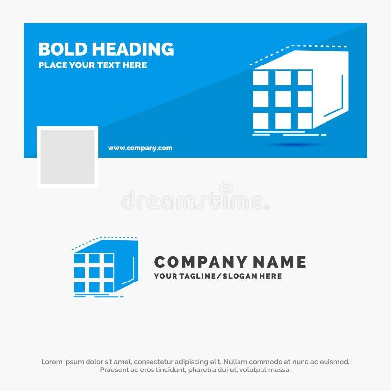 Affare blu Logo Template per l'estratto, aggregazione, cubo, dimensionale, matrice Progettazione dell'insegna di cronologia di Fa illustrazione vettoriale