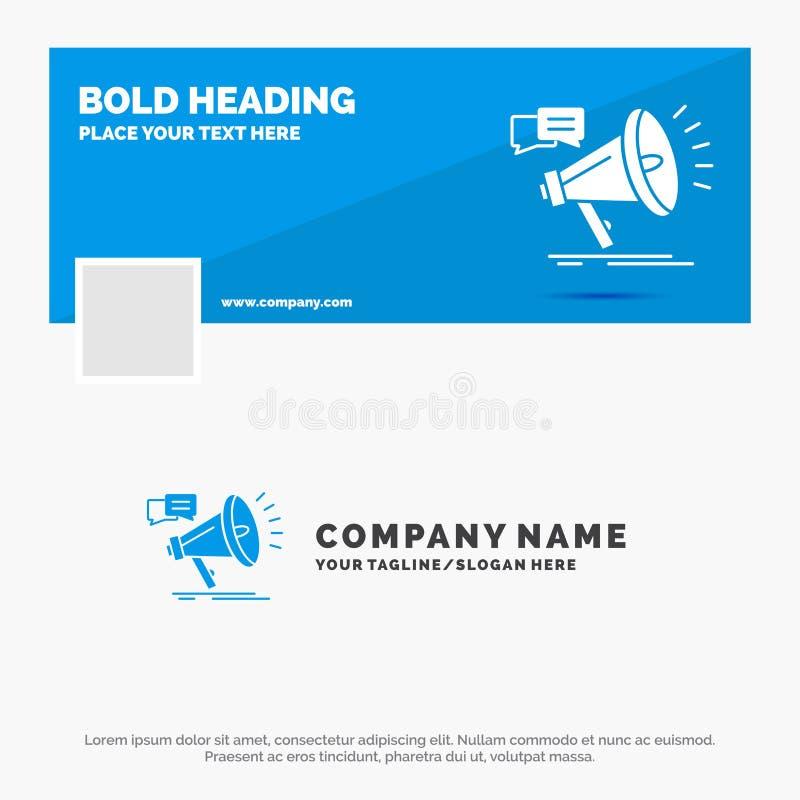 Affare blu Logo Template per la commercializzazione, megafono, annuncio, promo, promozione Progettazione dell'insegna di cronolog illustrazione di stock