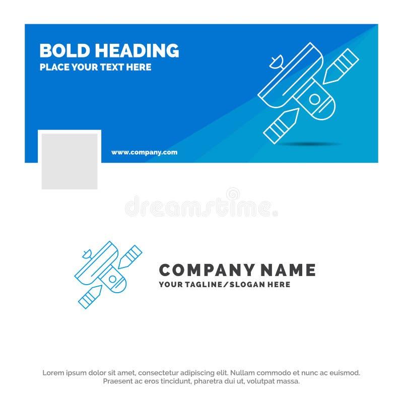 Affare blu Logo Template per la radiodiffusione, radiodiffusione, radio, satellite, trasmettitore Progettazione dell'insegna di c royalty illustrazione gratis