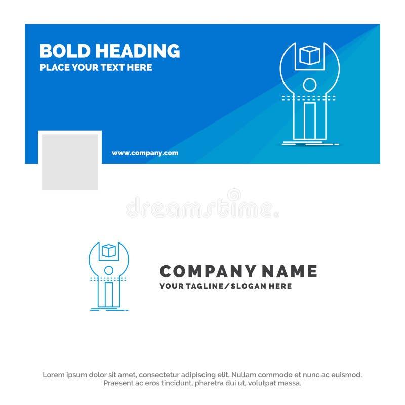 Affare blu Logo Template per SDK, App, sviluppo, corredo, programmante Progettazione dell'insegna di cronologia di Facebook Bandi royalty illustrazione gratis
