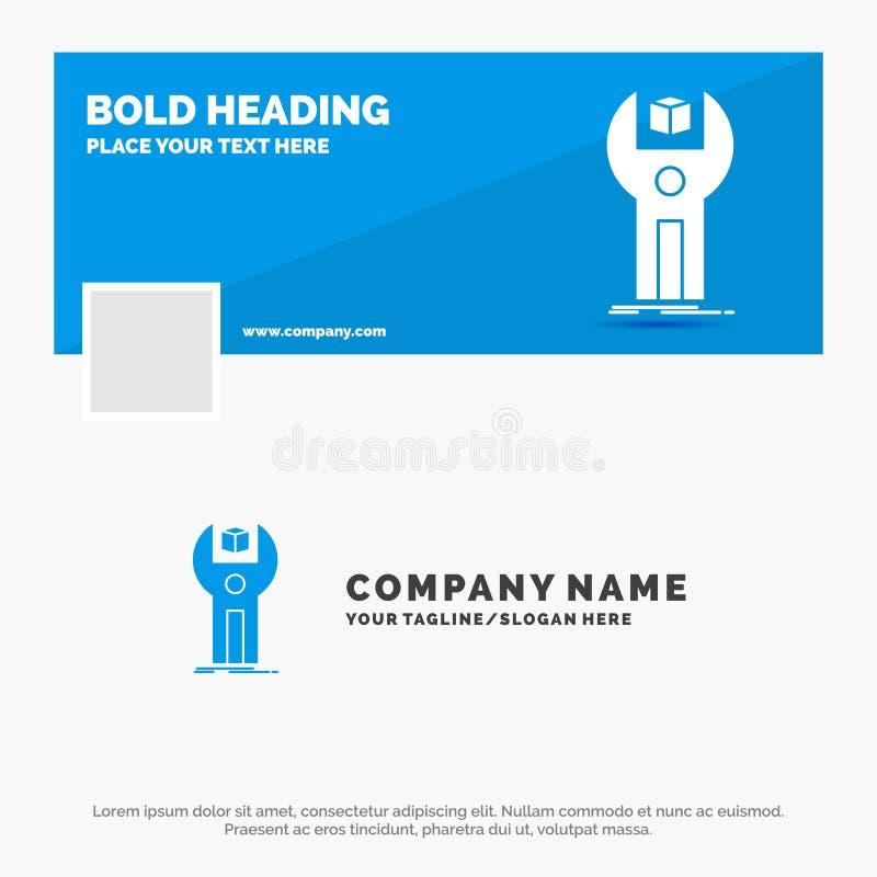 Affare blu Logo Template per SDK, App, sviluppo, corredo, programmante Progettazione dell'insegna di cronologia di Facebook Bandi illustrazione vettoriale
