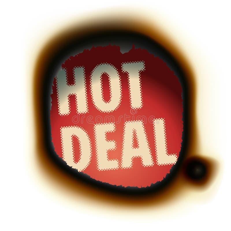Affare caldo - fondo di carta bruciato con testo illustrazione di stock