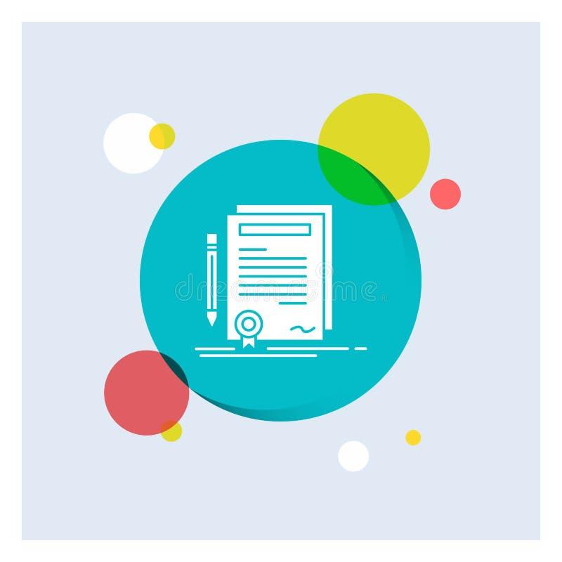 Affare, certificato, contratto, grado, fondo variopinto del cerchio dell'icona bianca di glifo del documento illustrazione di stock
