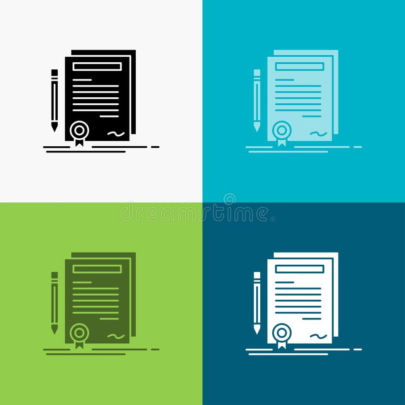 Affare, certificato, contratto, grado, icona del documento sopra vario fondo progettazione di stile di glifo, progettata per il w illustrazione vettoriale