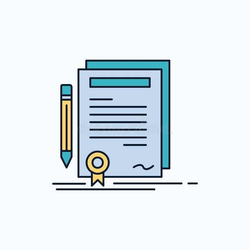 Affare, certificato, contratto, grado, icona piana del documento segno e simboli verdi e gialli per il sito Web e il appliation m illustrazione vettoriale