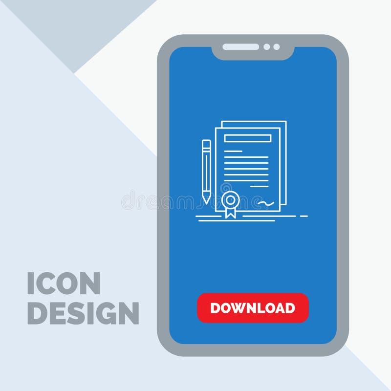 Affare, certificato, contratto, grado, linea icona del documento in cellulare per la pagina di download royalty illustrazione gratis