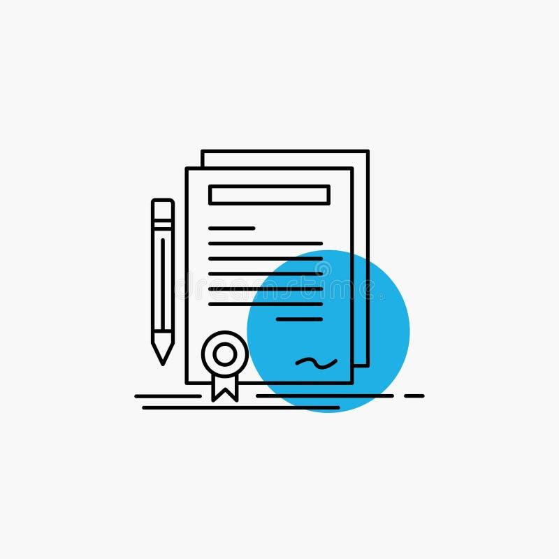 Affare, certificato, contratto, grado, linea icona del documento illustrazione vettoriale