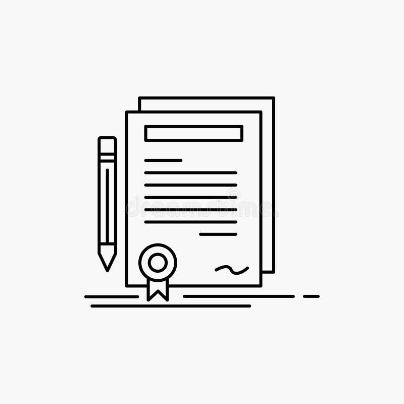 Affare, certificato, contratto, grado, linea icona del documento Illustrazione isolata vettore illustrazione di stock