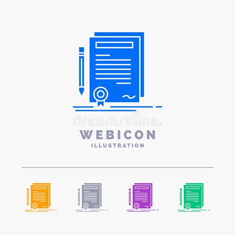 Affare, certificato, contratto, grado, modello dell'icona di web di glifo di colore del documento 5 isolato su bianco Illustrazio illustrazione vettoriale