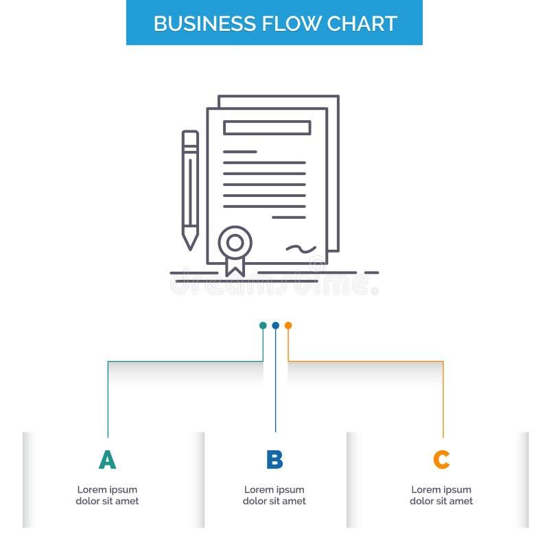 Affare, certificato, contratto, grado, progettazione del diagramma di flusso di affari del documento con 3 punti Linea icona per  illustrazione di stock