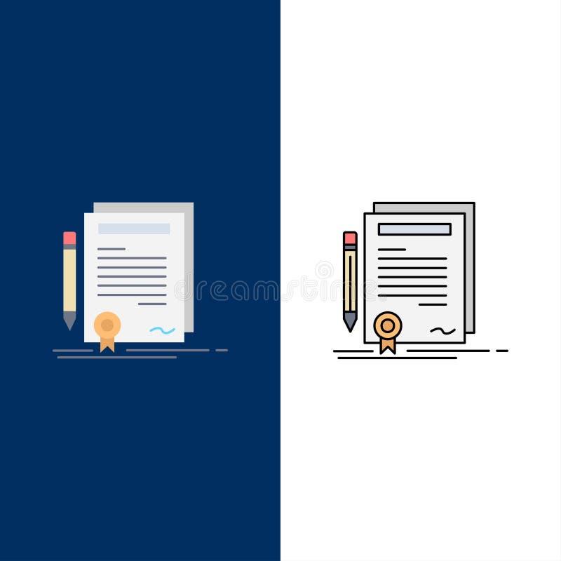 Affare, certificato, contratto, grado, vettore piano dell'icona di colore del documento royalty illustrazione gratis