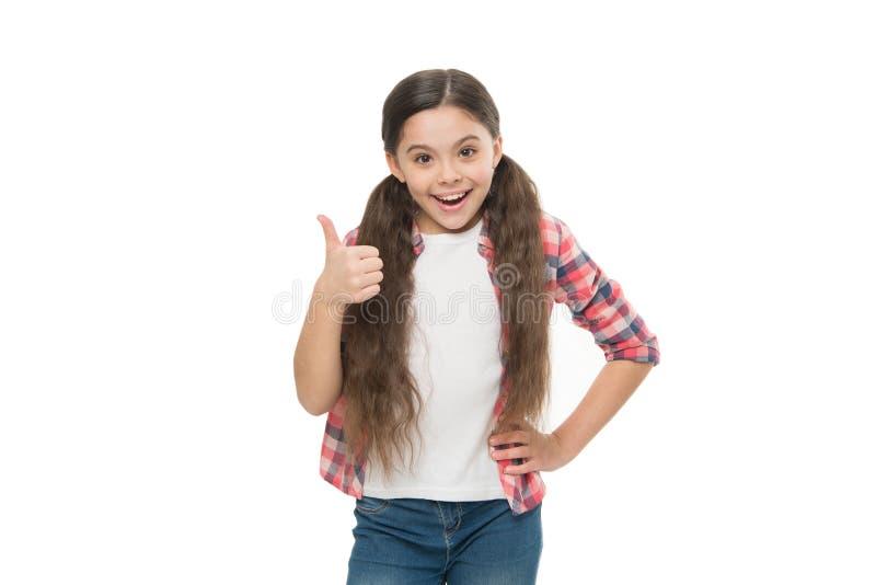 Affare con capelli aggrovigliati Bambino sveglio della ragazza con le code di cavallo isolate su bianco Rimedi aggrovigliati dei  fotografie stock