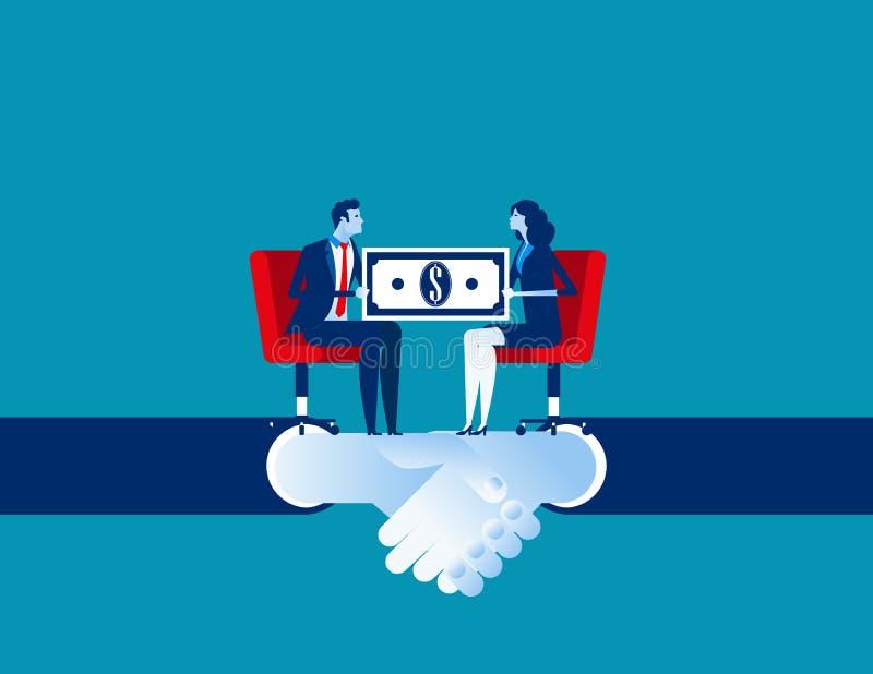 Affare corporativo ed accordo per l'affare di commercio Illustrazione di vettore di affari di concetto Fumetto piano di affari, p royalty illustrazione gratis
