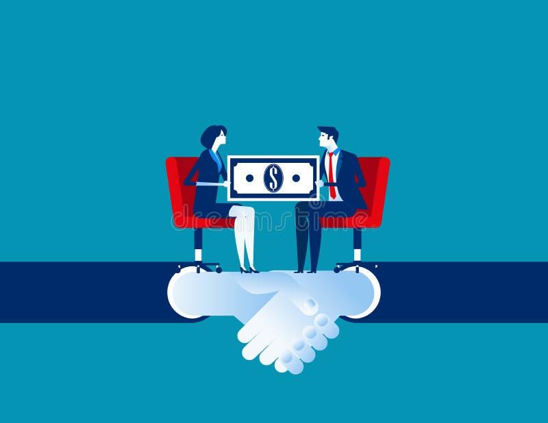 Affare corporativo ed accordo per l'affare di commercio Illustrazione di vettore di affari di concetto Fumetto piano di affari, p illustrazione vettoriale