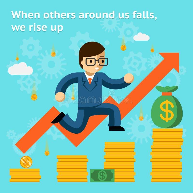 Affare crescente nel concetto di crisi finanziaria quando illustrazione di stock