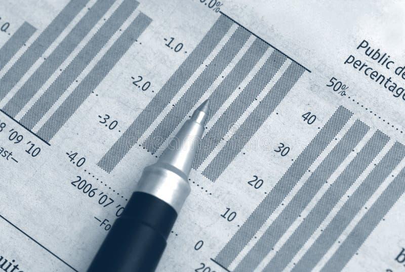 Affare Del Grafico Del Diagramma Con La Penna Fotografie Stock