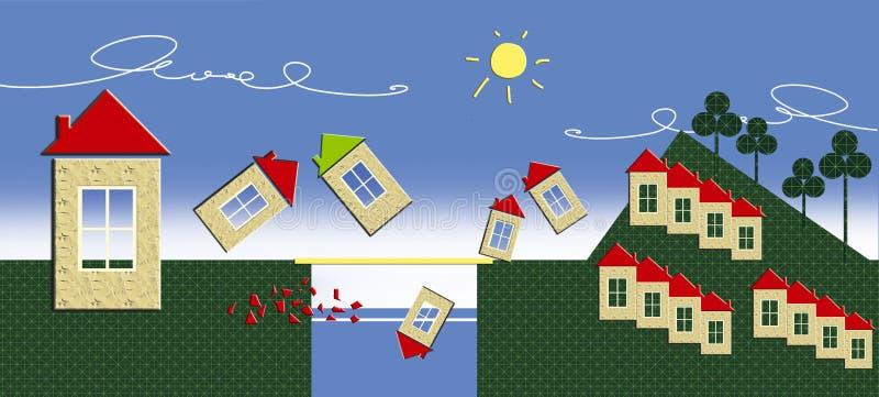 Affare dell'hotel ricorso Un gruppo di case con un tetto rosso superare il fiume e scalare la montagna Illustrazione divertente illustrazione vettoriale