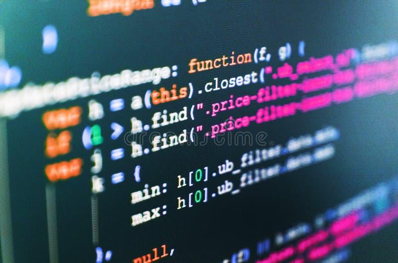 Affare della creazione del software del PC Schermo astratto di software Fondo dello scritto degli sviluppatori di software fotografia stock libera da diritti