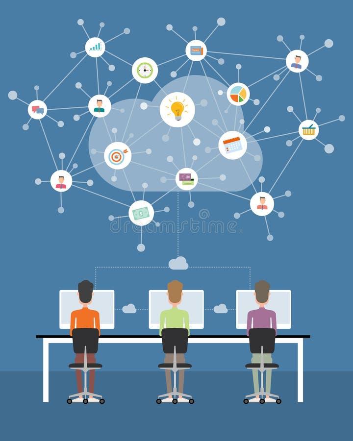 Affare della gente che lavora alla connessione di rete della nuvola royalty illustrazione gratis