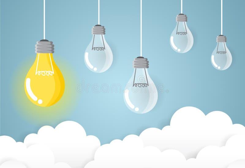 Affare della lampada sull'idea e sul concetto moderni di successo del cielo immagini stock libere da diritti