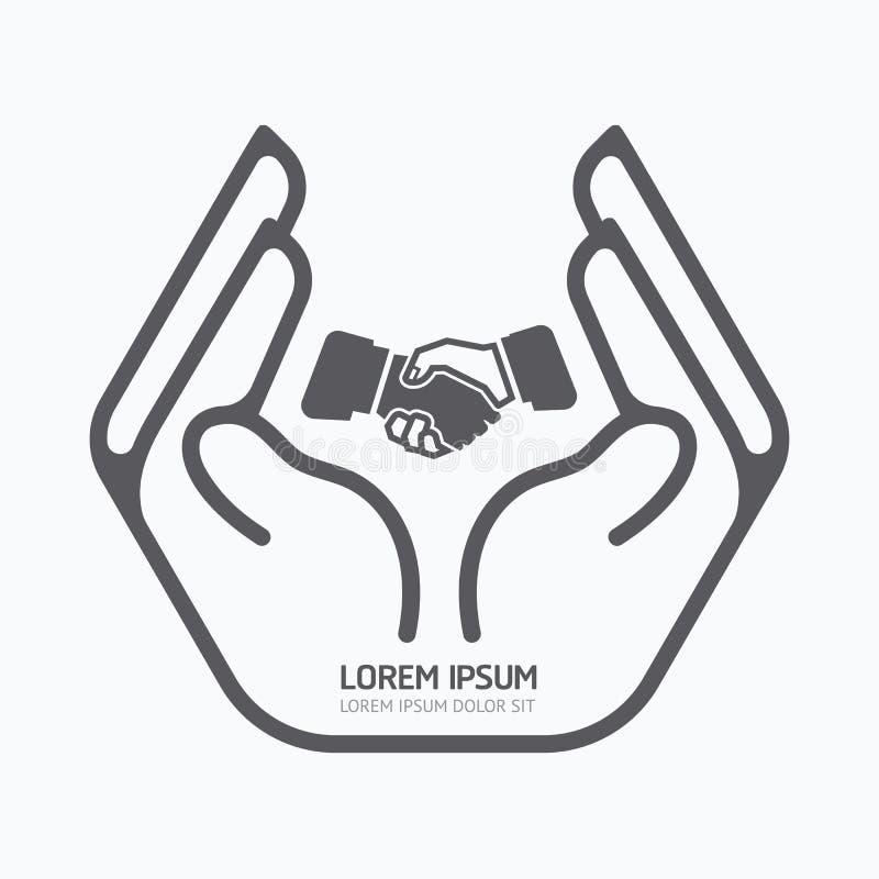 Affare della tenuta della mano progettazione di logo, concetto di cura di sicurezza illustrazione di stock