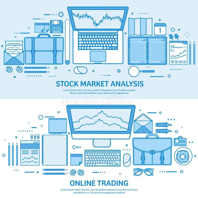 Affare di commercio del mercato Conto commerciale della piattaforma Renda i soldi in linea Analisi ed investire Fondo blu piano d illustrazione vettoriale