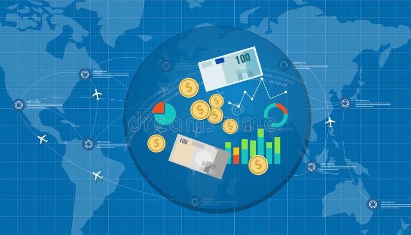 Affare di soldi finanziario della rete globale royalty illustrazione gratis