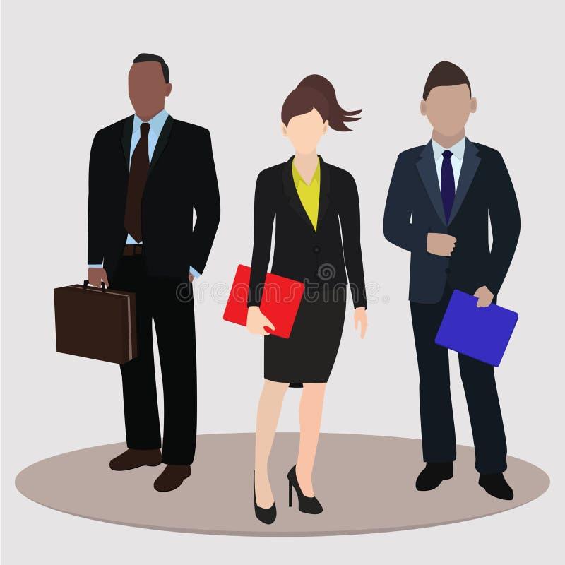 Affare e concetto dell'ufficio Donna di affari ed uomo di affari due Illustrazione di vettore illustrazione di stock