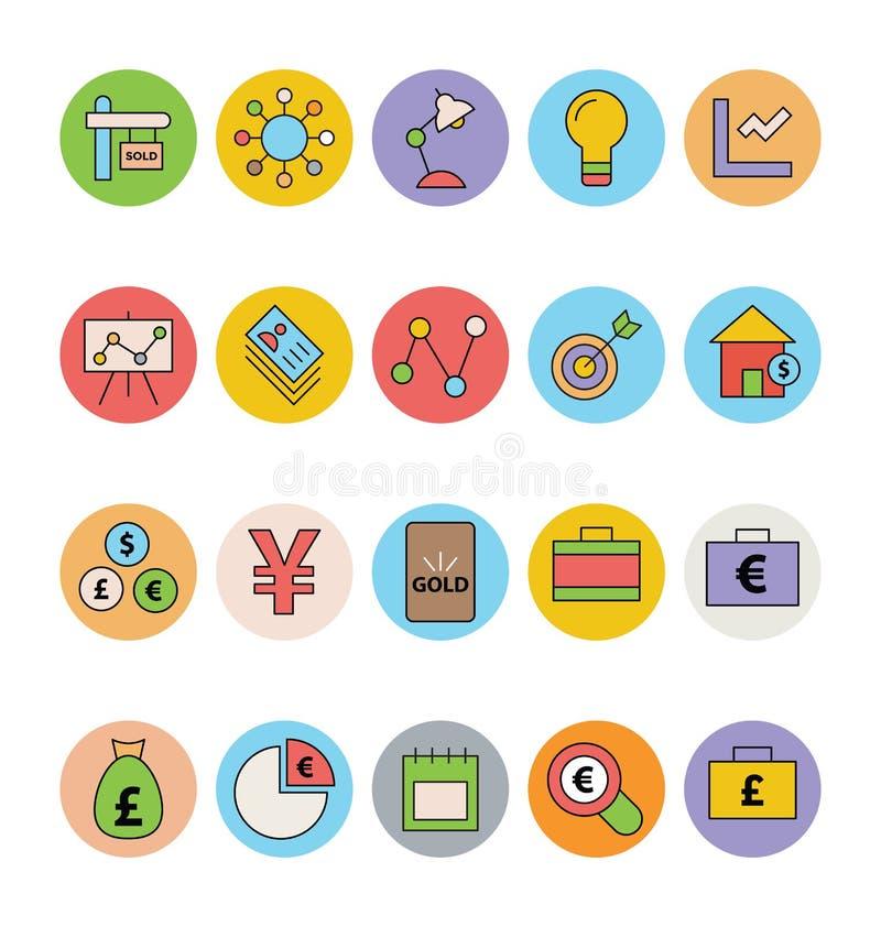 Affare ed icone 12 di vettore colorate ufficio illustrazione di stock