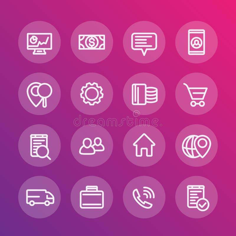 Affare, finanza, commercio, linea commerciale icone royalty illustrazione gratis