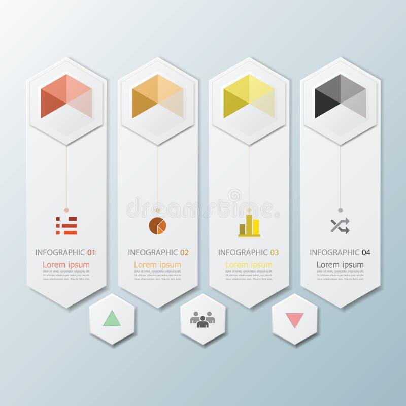 Affare geometrico Infographic di forma di esagono illustrazione vettoriale