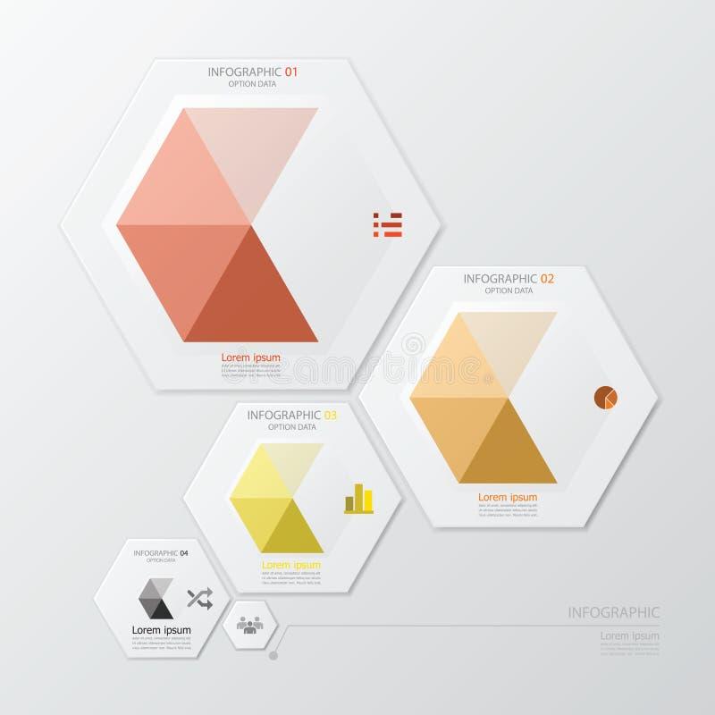 Affare geometrico Infographic di forma di esagono illustrazione di stock