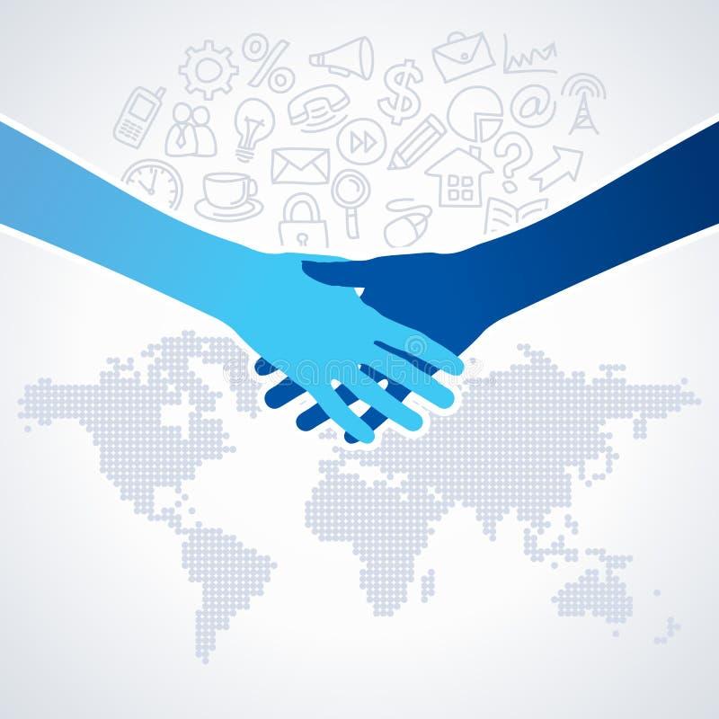 Affare globale con l'icona dell'ufficio royalty illustrazione gratis