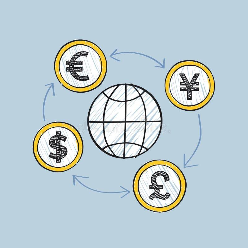 Affare globale e movimento dell'illustrazione di valute illustrazione vettoriale