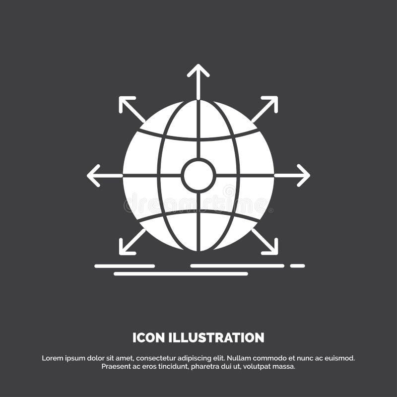 affare, globale, internazionale, rete, icona di web r illustrazione vettoriale