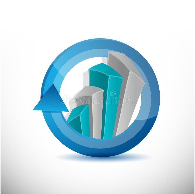 Affare, illustrazione del grafico del grafico del ciclo illustrazione di stock