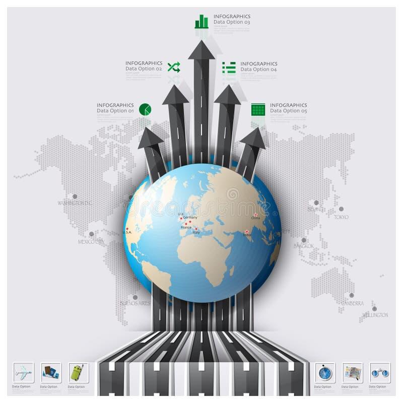 Affare Inf della mappa di mondo di viaggio e di viaggio della pista della via e della strada illustrazione di stock
