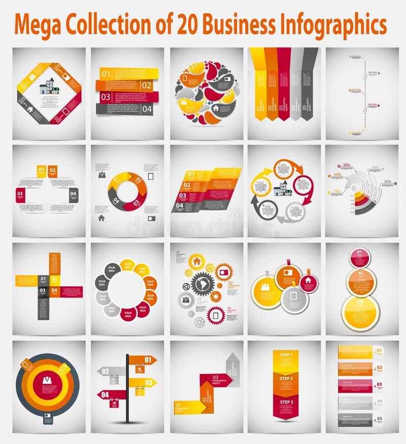 Affare infographic del modello della raccolta mega illustrazione vettoriale