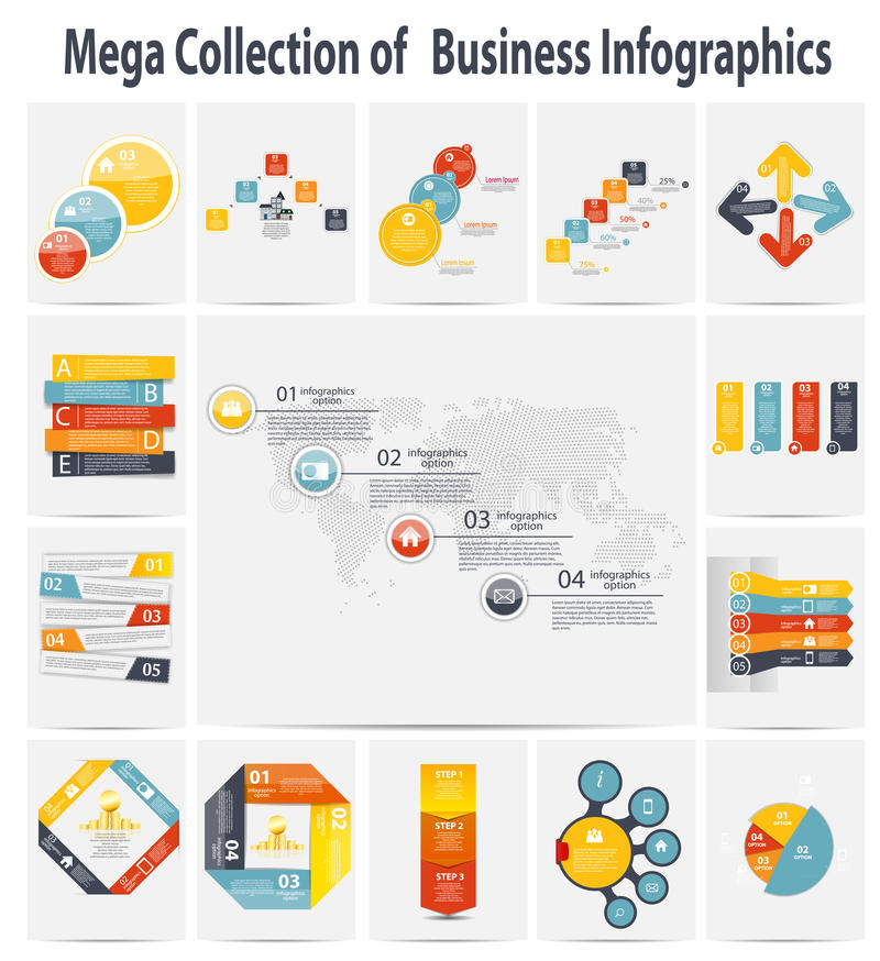 Affare infographic del modello della raccolta mega royalty illustrazione gratis