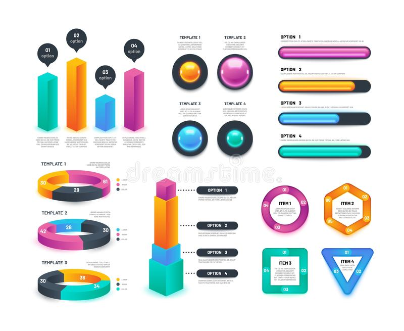 Affare Infographic Grafici di flusso di lavoro, diagrammi circolari, rapporti annuali di vendita raccolta di vettore 3d illustrazione di stock