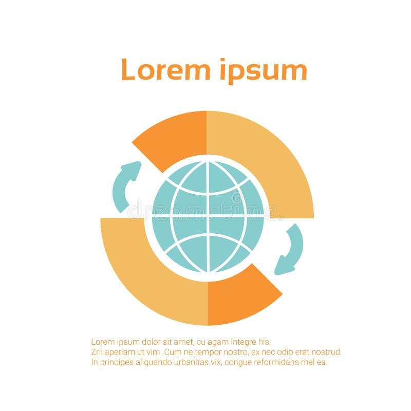 Affare Infographics della freccia del cerchio del globo con l'insegna dello spazio della copia royalty illustrazione gratis