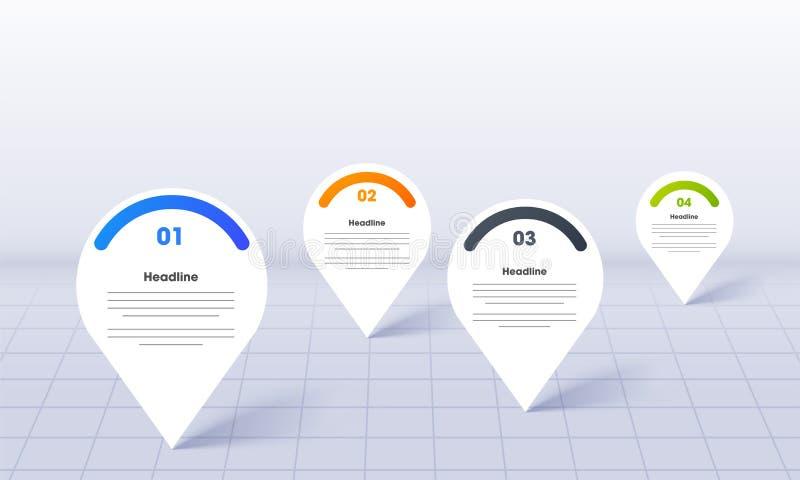 Affare Infographics per PowerPoint con i perni di posizione della mappa sulla griglia royalty illustrazione gratis