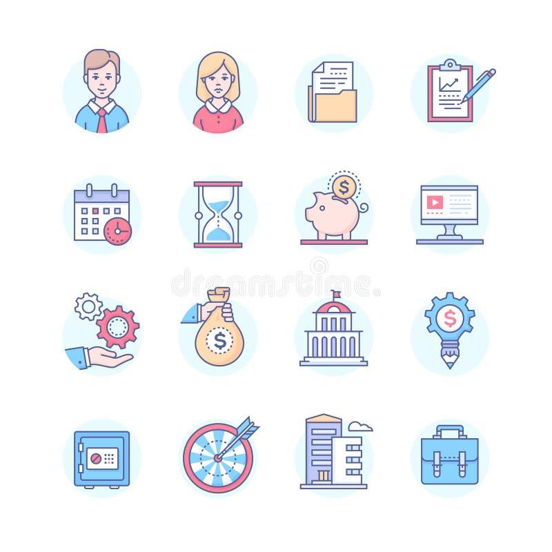 Affare - insieme della linea icone di stile di progettazione royalty illustrazione gratis